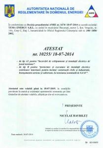 ANRE - Atestare Autoritatea Nationala de Reglementare in domeniul Energiei